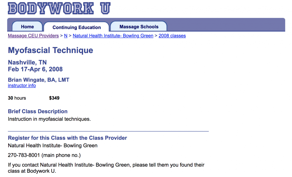 Screen shot of a class detail page at Bodywork U, August 2008