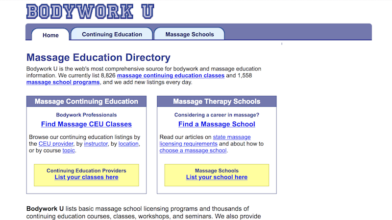 Screen capture of the BodyworkU.com home page, August 2008