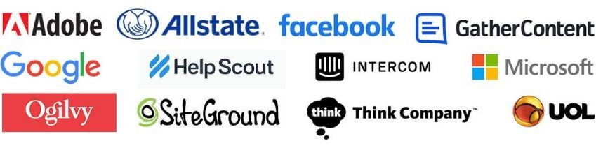 image: logos of companies whose content strategists have appeared on the Content Strategy Insights podcast