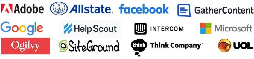 image: collection of logos of companies whose content strategists have appeared on the Content Strategy Insights podcast