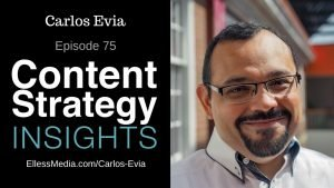 podcast cover art for interview with Carlos Evia: expert on structured content authoring with DITA and Lightweight DITA
