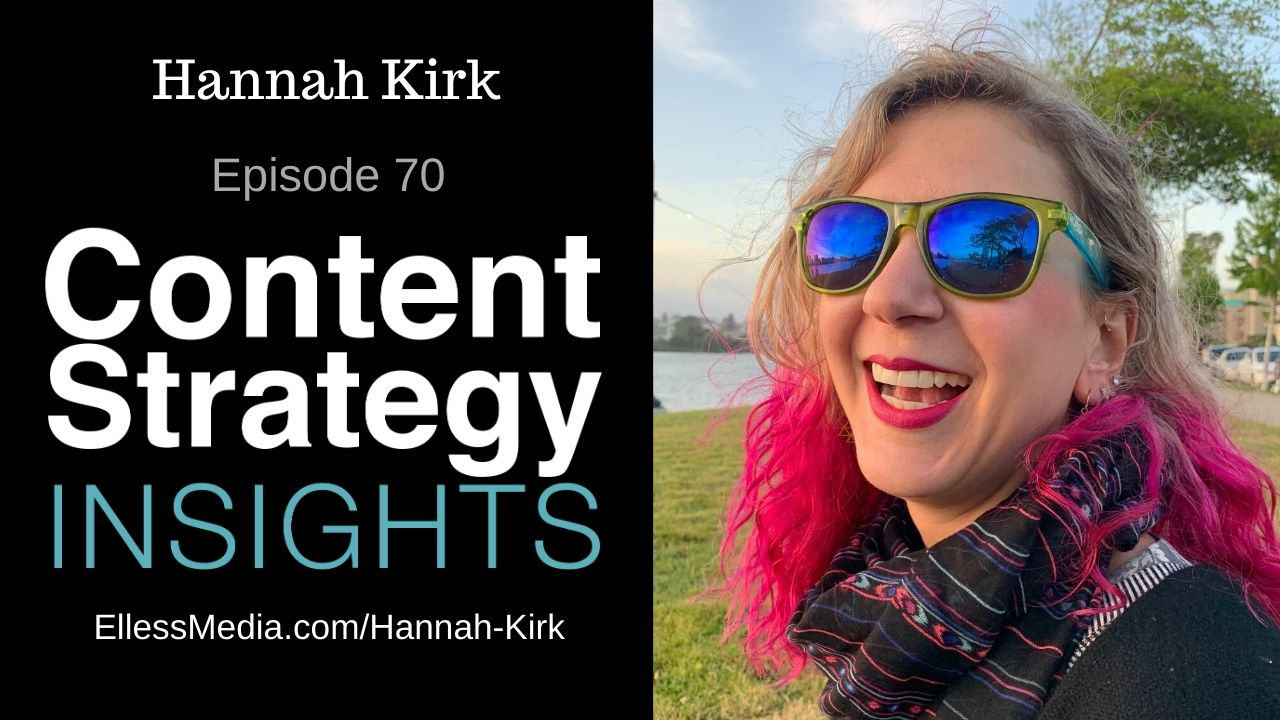 podcast cover art for interview with Hannah Kirk - connecting technical writing and content strategy
