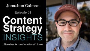 podcast cover art with photo of Jonathon Colman, content designer at Intercom