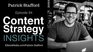podcast cover art for interview with Patrick Stafford, CEO of the UX Writers Collective