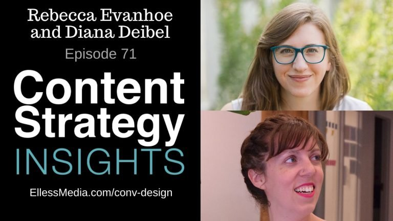 podcast cover art for interview with Rebecca Evanhoe and Diana Deibel, voice conversation designers