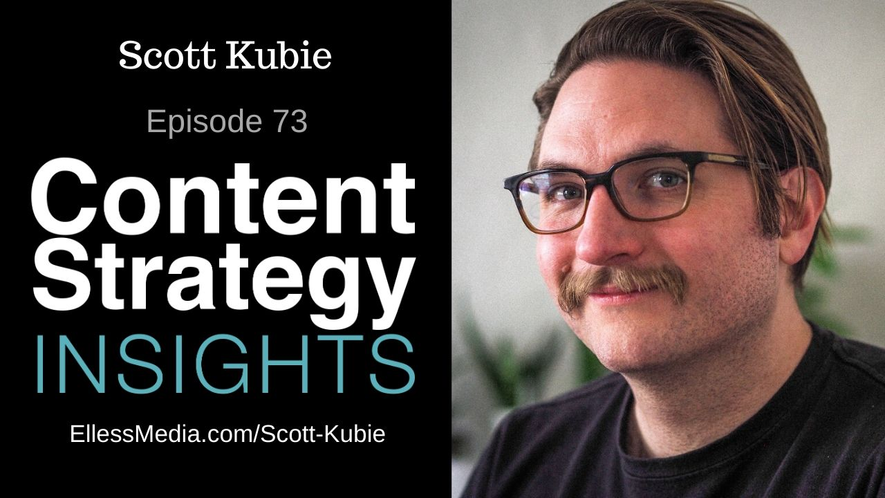 podcast cover art for interview with Scott Kubie, author of Writing for Designers