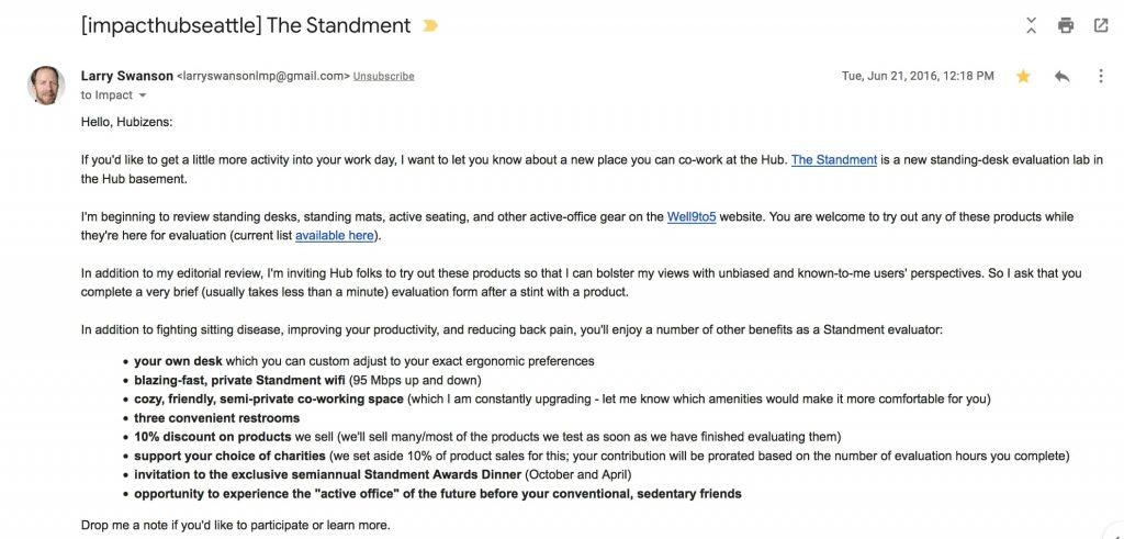image: screen shot of product-testing recruiting email to Impact Hub members, June 2016