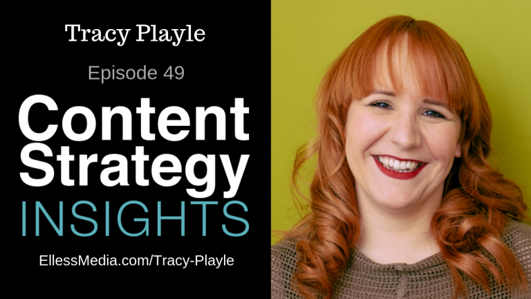 cover art for podcast interview with Tracy Playle, content strategist workshop expert