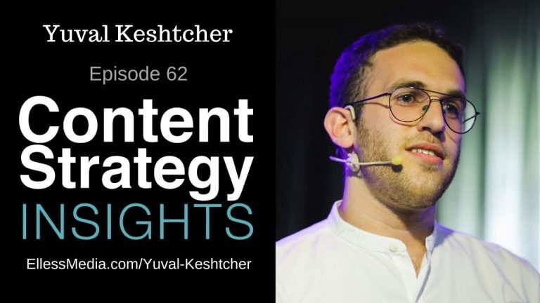 image: cover art for podcast interview with Yuval Keshtcher, UX Writing Hub founder