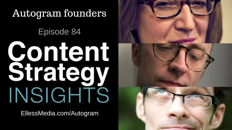 podcast cover art for interview with Autogram co-founders Karen McGrane, Ethan Marcotte, and Jeff Eaton